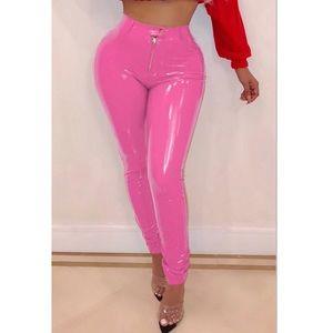 Pants - Pink PU pants